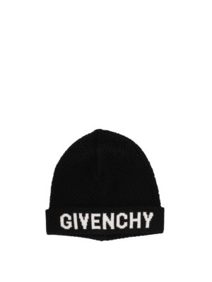 Givenchy: beanies - Black and white wool beanie