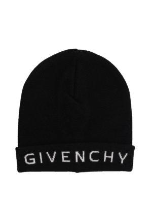 GIVENCHY: berretti - Berretto in lana con logo a contrasto