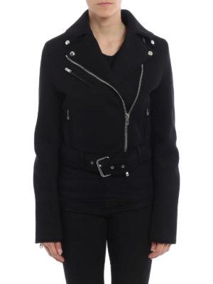 Givenchy: biker jackets online - Scuba effect jersey biker jacket