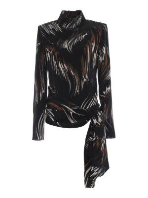 GIVENCHY: bluse - Blusa in seta fantasia e fiocco asimmetrico