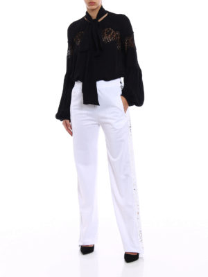 Givenchy: blouses online - Silk crepe de chine and lace blouse