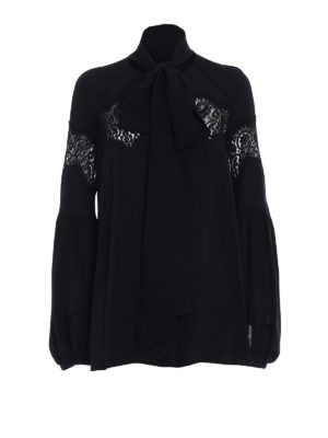 Givenchy: blouses - Silk crepe de chine and lace blouse