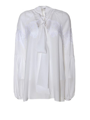 Givenchy: blouses - Silk georgette and lace blouse