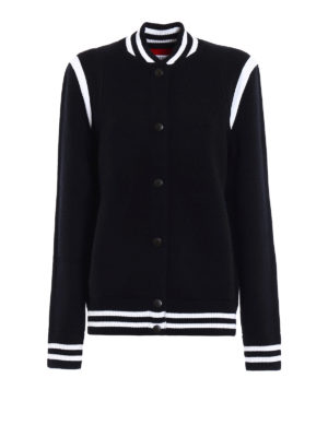 Givenchy: bombers - Embroidered logo wool blend bomber