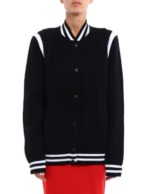 Givenchy: bombers online - Embroidered logo wool blend bomber
