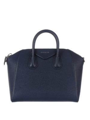 Givenchy: bowling bags - Antigona medium blue leather bag