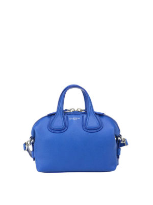 Givenchy: bowling bags - Micro Nightingale blue leather bag