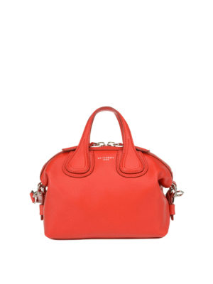 Givenchy: bowling bags - Micro Nightingale red leather bag