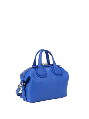 Givenchy: bowling bags online - Micro Nightingale blue leather bag