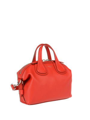 Givenchy: bowling bags online - Micro Nightingale red leather bag