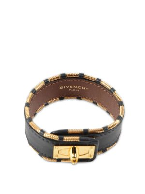 Givenchy: Bracelets & Bangles - Shark leather and steel  bracelet