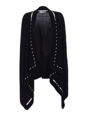 Givenchy: cardigans - Black pearl trim open cardigan