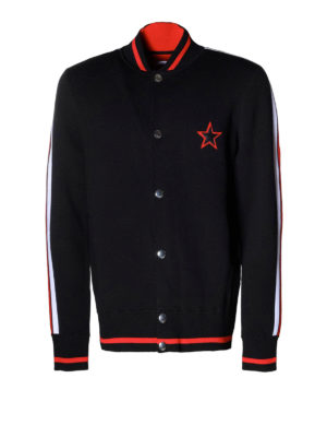 Givenchy: cardigans - Embroidered cotton sporty cardigan