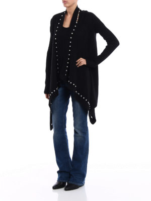 Givenchy: cardigans online - Black pearl trim open cardigan