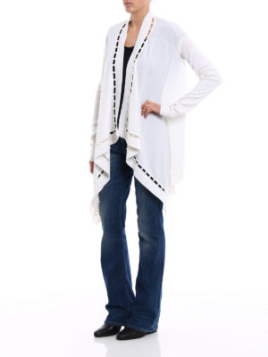 Givenchy: cardigans online - White pearl trim open cardigan
