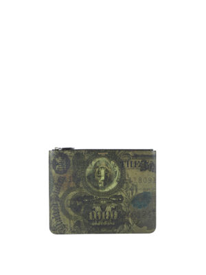 Givenchy: clutches - Dollar print zipped pouch