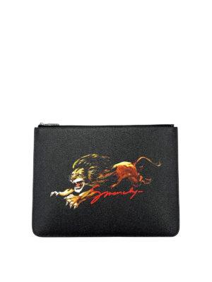 69cc1ee2015 GIVENCHY: pochette - Busta in tessuto spalmato con stampa leone