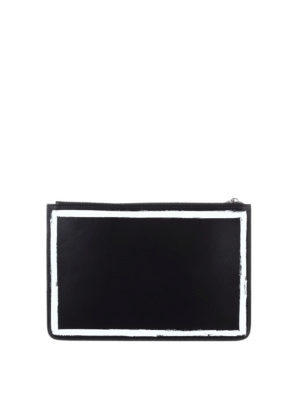 Givenchy: clutches online - Brushstroke-effect leather clutch