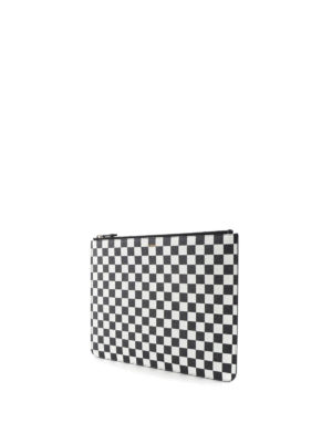 Givenchy: clutches online - Check leather zipped pouch
