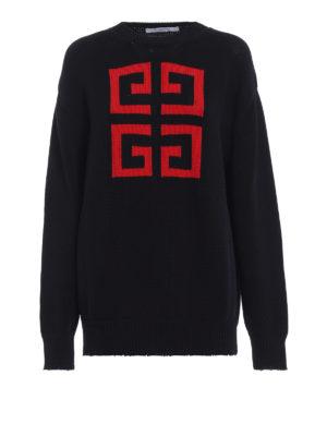 GIVENCHY: maglia collo rotondo - Pullover in cotone con intarsio 4G