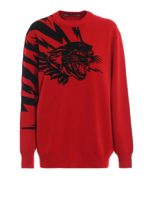 GIVENCHY: maglia collo rotondo - Girocollo in lana con motivo tigre a intarsia