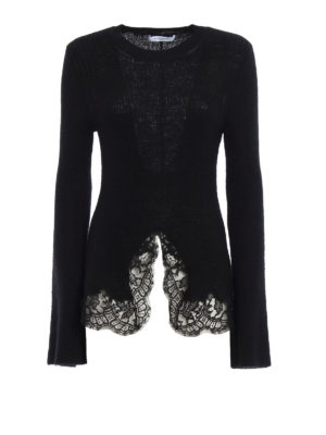 Givenchy: crew necks - Lace trimmed mohair blend sweater