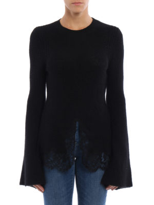 Givenchy: crew necks online - Lace trimmed mohair blend sweater