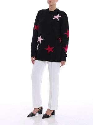 Givenchy: crew necks online - Star intarsia wool oversize sweater