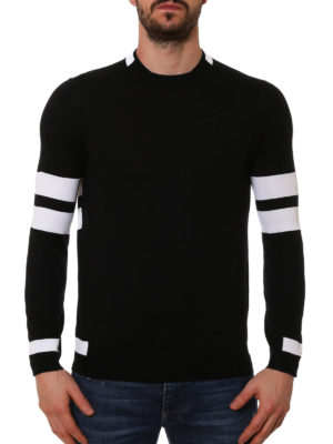 Givenchy: crew necks online - Striped sleeves wool sweater