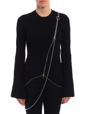 Givenchy: crew necks online - Zip asymmetric ribbed  sweater
