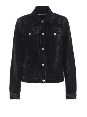 GIVENCHY: giacche denim - Giubbotto nero in denim con logo ad anelli