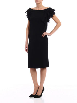 Givenchy: evening dresses online - Pleated ruffle shift black dress
