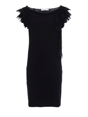 Givenchy: evening dresses - Pleated ruffle shift black dress