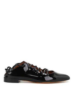 Givenchy: flat shoes - Lace-up patent leather ballerinas