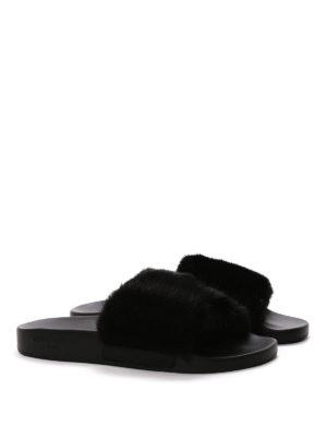 Givenchy: flip flops online - Slides with mink fur insert