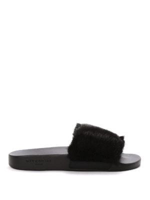Givenchy: flip flops - Slides with mink fur insert