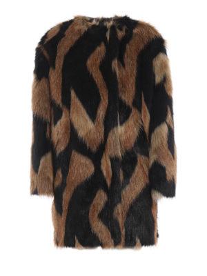 GIVENCHY: Pellicce e montoni - Eco pelliccia girocollo con motivo bicolore