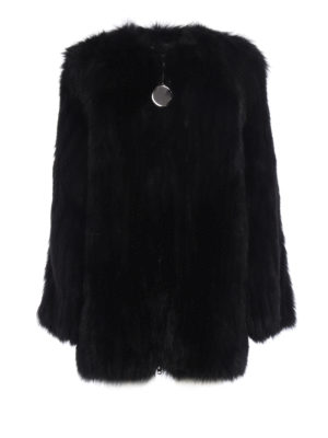 Givenchy: Fur & Shearling Coats - Striped fox fur over coat