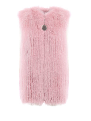 Givenchy: Fur & Shearling Coats - Striped fox fur vest