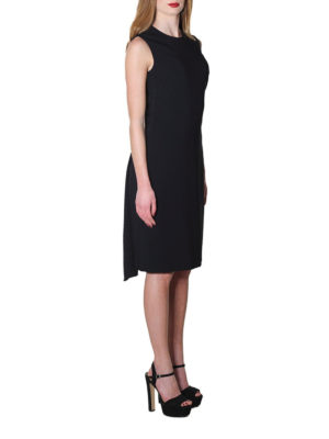 Givenchy: knee length dresses online - Silk panels detailed cady dress