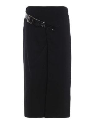 GIVENCHY: gonne al ginocchio  e longuette - Gonna in crepe di lana con spacco e cintura