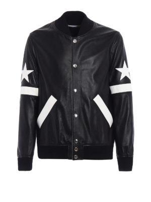 Givenchy: leather jacket - Napa leather two-tone bomber jacket