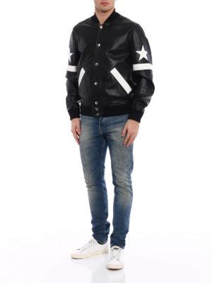 Givenchy: leather jacket online - Napa leather two-tone bomber jacket