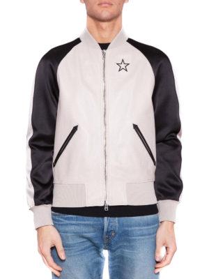 Givenchy: leather jacket online - Two-tone leather bomber jacket
