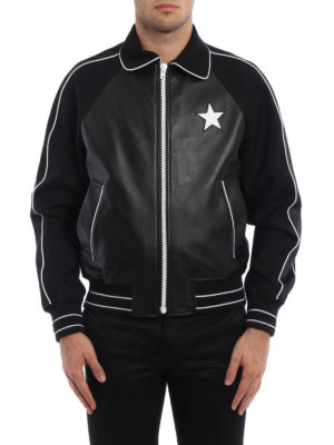 Givenchy: leather jacket online - Wool sleeved leather jacket