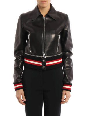 Givenchy: leather jacket online - Zip detailed leather bomber jacket