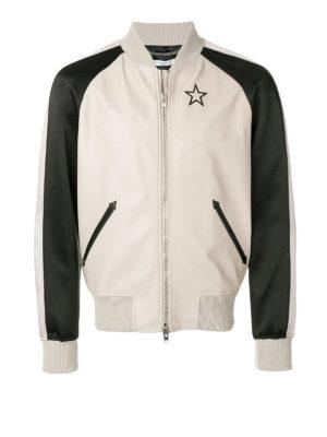 Givenchy: leather jacket - Two-tone leather bomber jacket