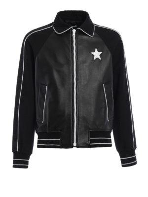 Givenchy: leather jacket - Wool sleeved leather jacket