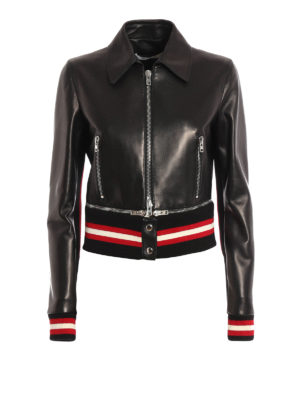 Givenchy: leather jacket - Zip detailed leather bomber jacket