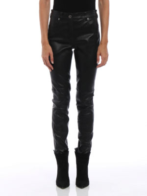 Givenchy: leather trousers online - Five pocket napa leather trousers
